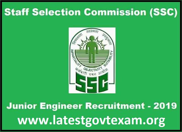 SSC Junior Engineer Recruitment 2019 | B.E/B.Tech/Diploma | Last Date: 12 September 2019
