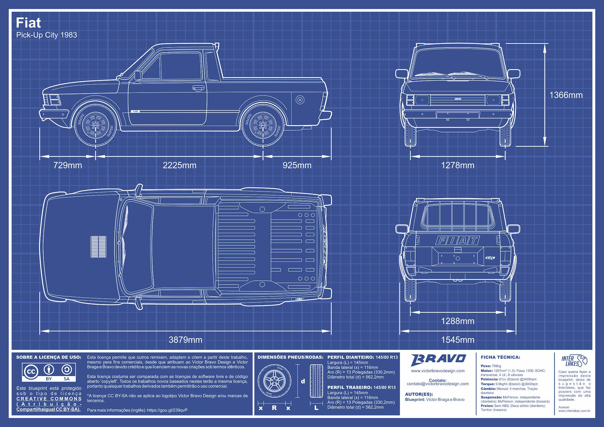 Imagem mostrando o desenho do blueprint do Fiat Pick-Up City 1983