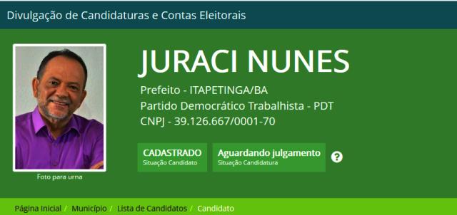 Candidato PDT, Juraci Nunes