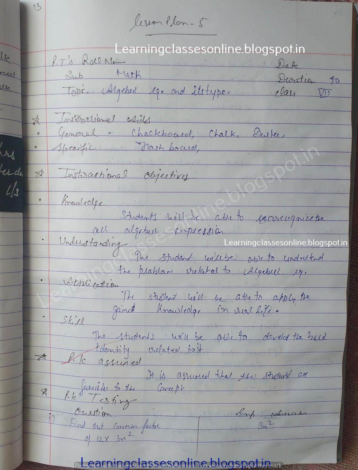 Mathematics Lesson Plan on algebra equation and its types