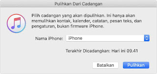 Tap restore data iphone