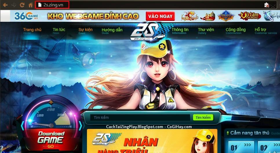 + Tại thanh địa chỉ của trình duyệt web bạn nhập: 2s.zing.vn hoặc có thể  click trực tiếp vào link: 2s.zing.vn để vào trang chủ zing speed.