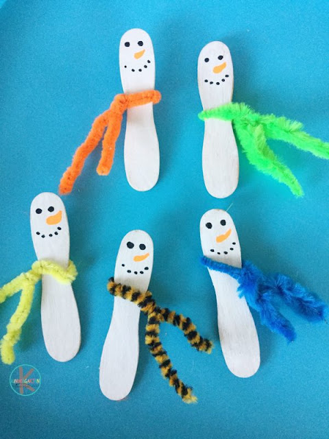 cute craft stick snowman craft for kids