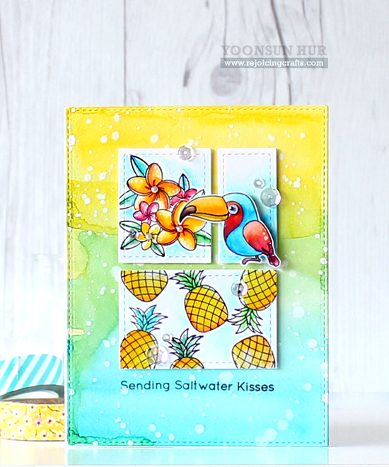 Handmade card from Yoonsun Hur featuring Birdie Brown Polynesian Paradise stamp set and Die-namics, Stitched Rectangle STAX Die-namics #mftstamps