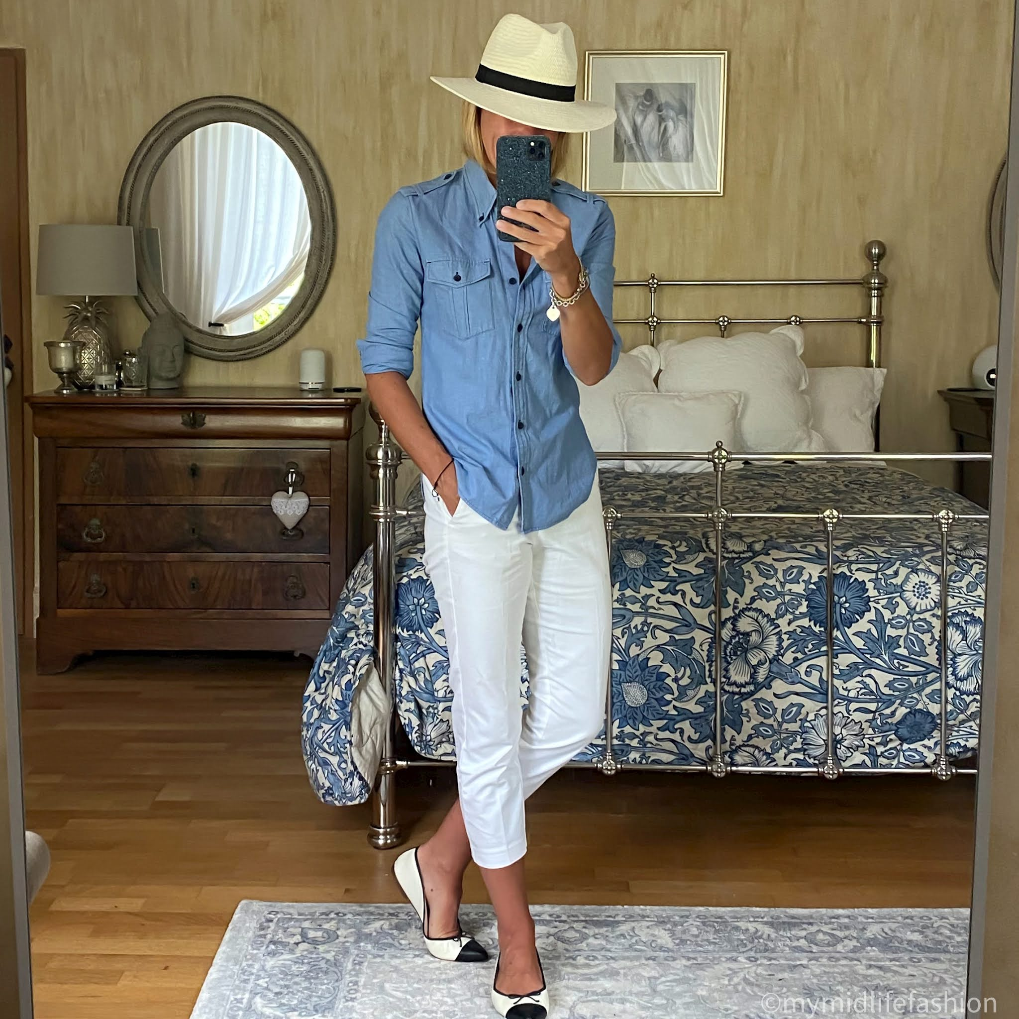 mymidlifefashion, zara panama hat, Isabel Marant Etoile military shirt, marks and Spencer cigarette pants, j crew pointed two tone ballet pumps