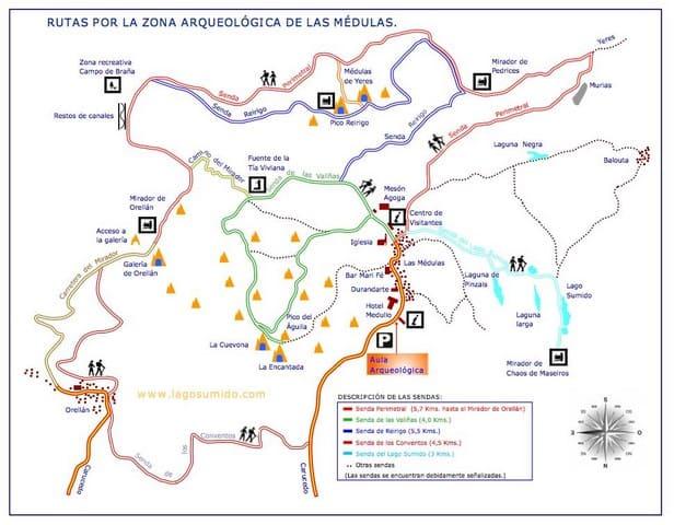Mapa sendas Médulas