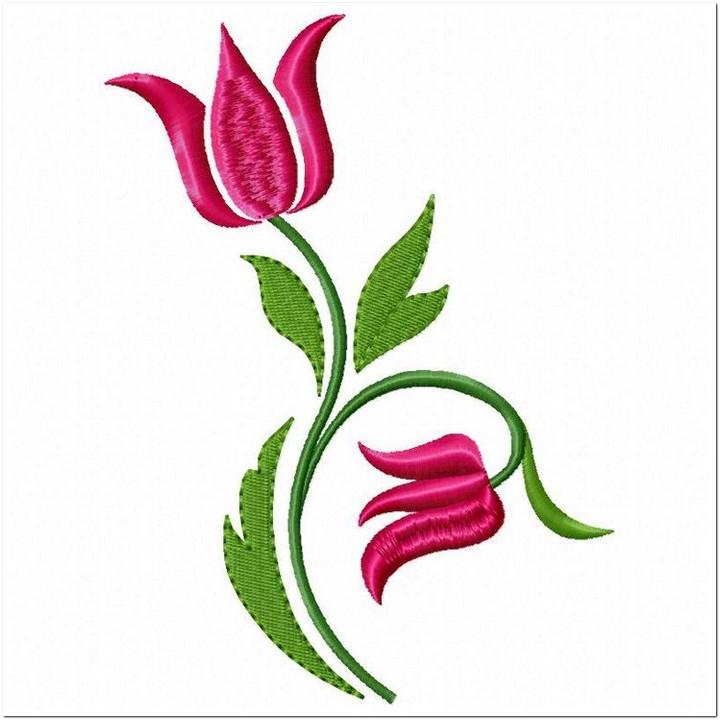 10 Contoh Motif Bordir Bunga Tulip Cantik Untuk Punching Bordir