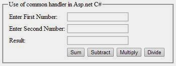 use of common event handler to calculate sum, subtraction, multiplication and division in asp.net