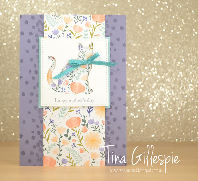 scissorspapercard, Stampin' Up!, Teeny Tiny Sentiments, Dragonfly Dreams, Delightful Daisy DSP, Stitched Shapes Framelits, Cat Punch