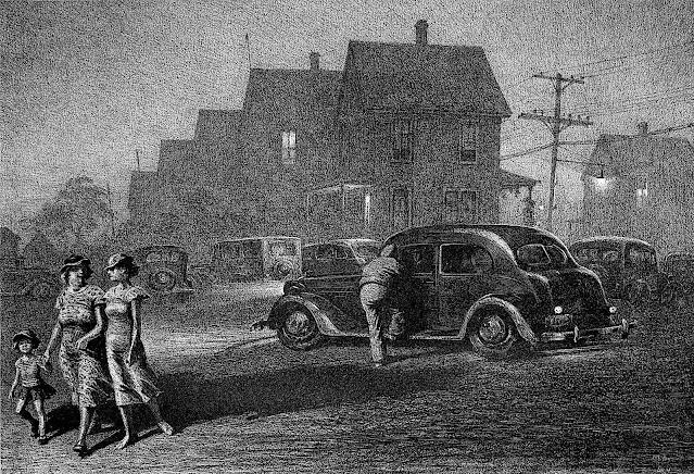 a Martin Lewis print 1937, a neighborhood at night
