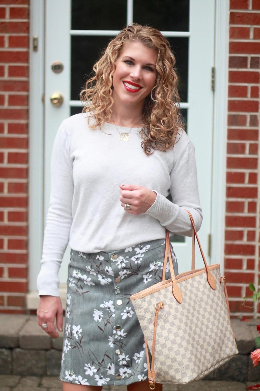 floral corduroy skirt, white sweater, grey peep toe booties, LV azure Neverfull