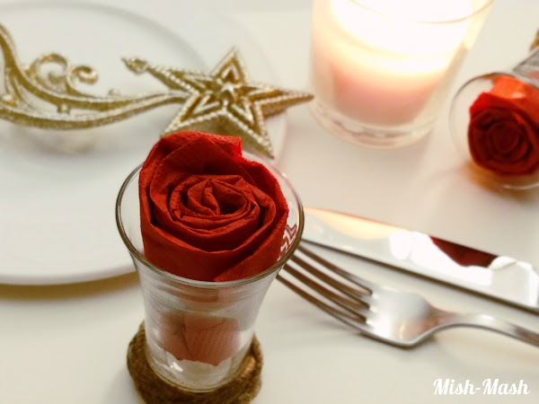 Салфетка Роза в чаша