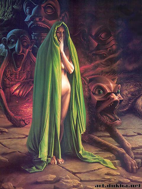 Женская фигура в сопровождении демонов