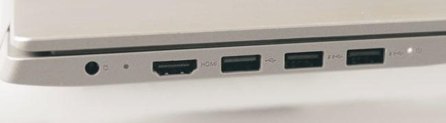 Ports on the left side of Lenovo IdeaPad Slim 3i laptop.