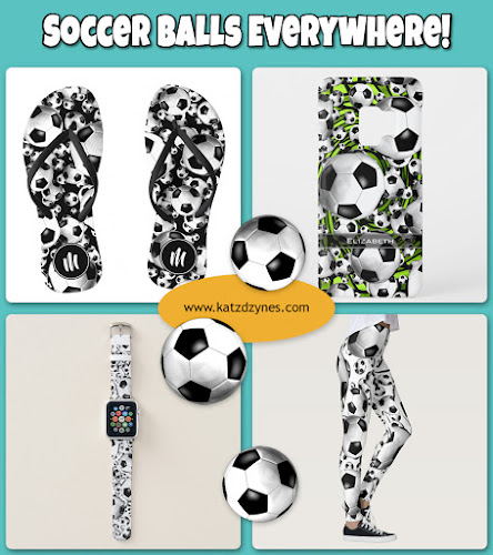The Soccer balls everywhere! cases and gifts collection features a seemingly endless barrage of soccer balls from out of nowhere on customizable background colors or varied background designs. Head's up! It's a soccer player's dream ... or nightmare!