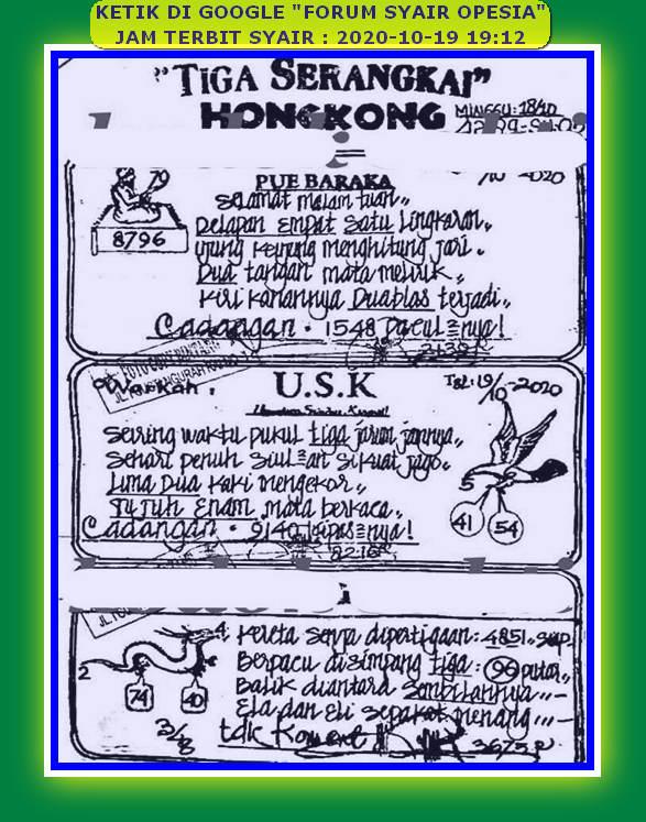 Kode syair Hongkong senin 19 oktober 2020 19