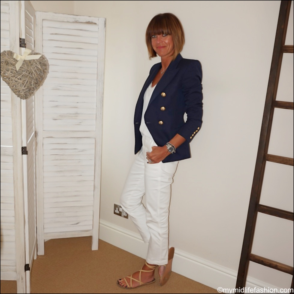 my midlife fashion, Balmain blazer, Zara lace trim camisole, j crew cropped patch pocket jeans, Ancient Greek sandals