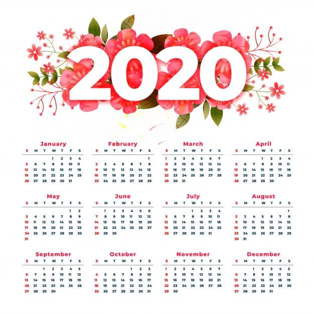Calendario 2020 por el año nuevo