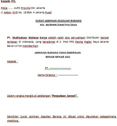 Contoh Surat Jaminan Keaslian Barang Pengadaan Eprocurement