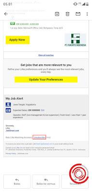 1. Langkah pertama silakan kalian buka salah satu email dari LiNa JobStreet, lalu gulir kebawah kemudian pilih Unsubscribe