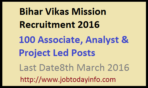 Bihar Vikas Mission Recruitment 2016 Apply Online for 100 Associate, Analyst & Project Led Posts