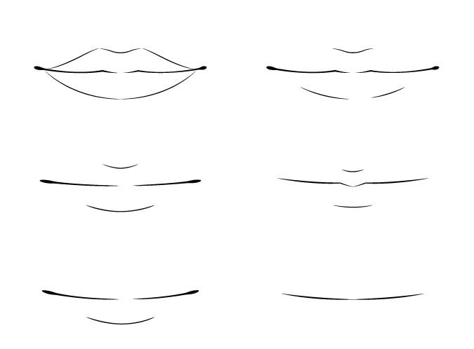 Menggambar tampilan depan bibir anime