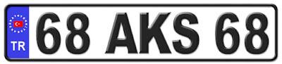 Aksaray il isminin kısaltma harflerinden oluşan 68 AKS 68 kodlu Aksaray plaka örneği