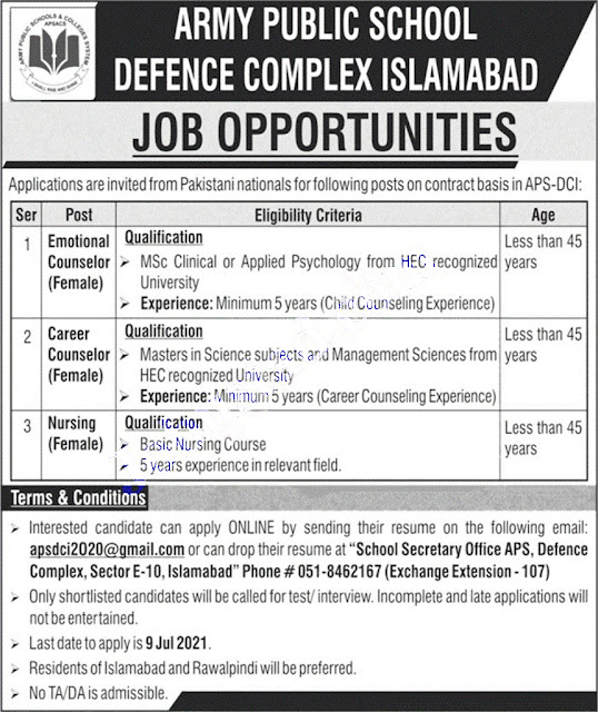 advertisement for recruitment at the Army Public School in Islamabad