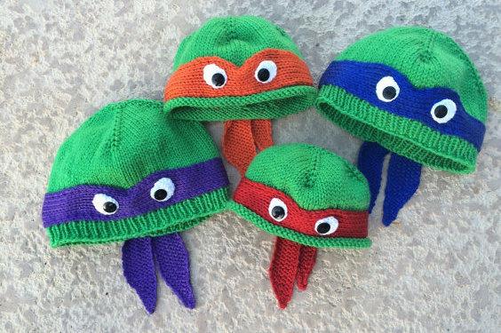 Hand-knit Teenage Mutant Ninja Turtles beanies from Etsy