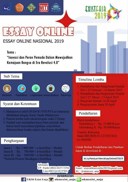 Lomba Essay Online Nasional Exist Fair 2019 Mahasiswa