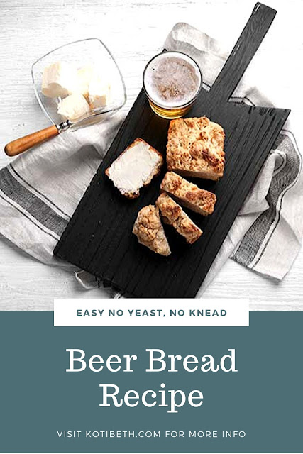 How to make bear bread recipe easy. Also has a list of what to serve with beer bread.  This is a simple and quick no knead and no yeast beer bread recipe that's perfect for beginners.  Make it sweet with honey or sugar or savory by adding herbs.  Includes directions for easy self rising flour or with all purpose flour. This beerbread recipes is buttery and easy homemade. Includes tips for the best home made beer bread. #beerbread #bread #recipe