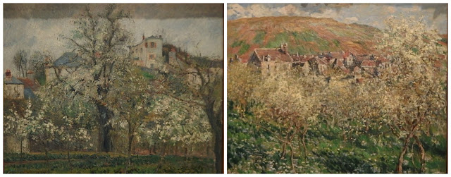 Pisarro's and Monet's plum tree paintings at the Royal Academy's Painting the Modern Garden exhibition