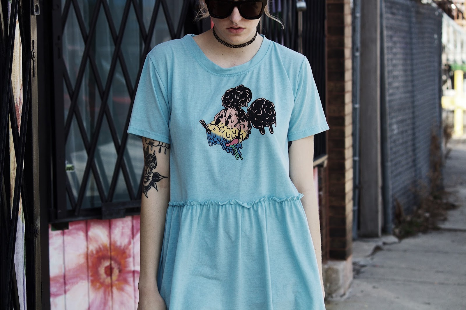 pastel mickey baby doll dress