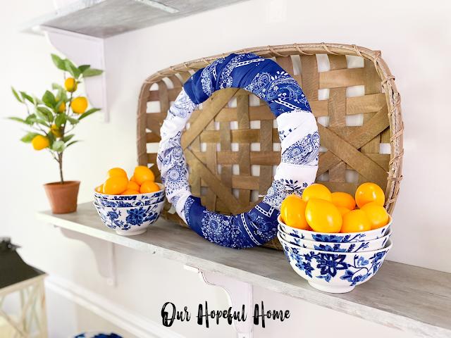 blue white paisley delft chinoiserie china lemons