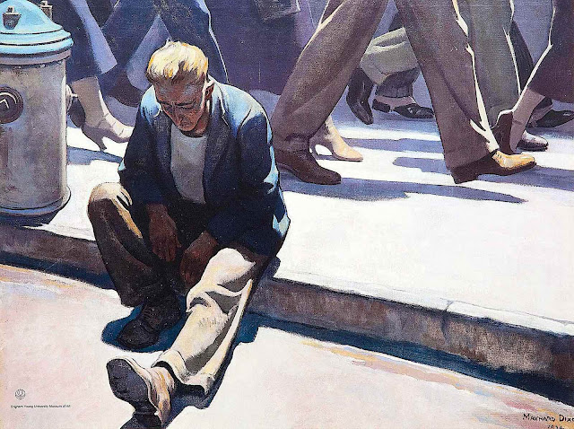 a Maynard Dixon painting of sad lonely man in a big busy city