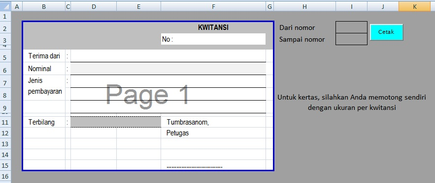 Membuat Aplikasi Kwitansi Di Excel Mtss Baitul Muttaqin