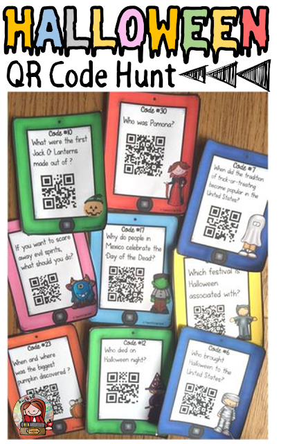 Halloween themed classroom Display Banner: HALLOWEEN QR CODE HUNT
