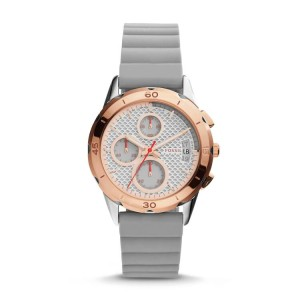 Fossil ES4042 Women's Modern Pursuit Chronograph White Dial Grey Silicone Watch