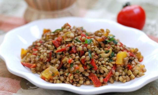 Sun Dried Tomato Lentil Salad #vegetarian #salad
