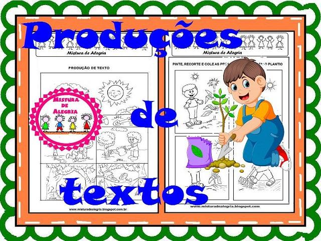Producoes De Textos Com Cenas De Plantio E Desenho De Arvore