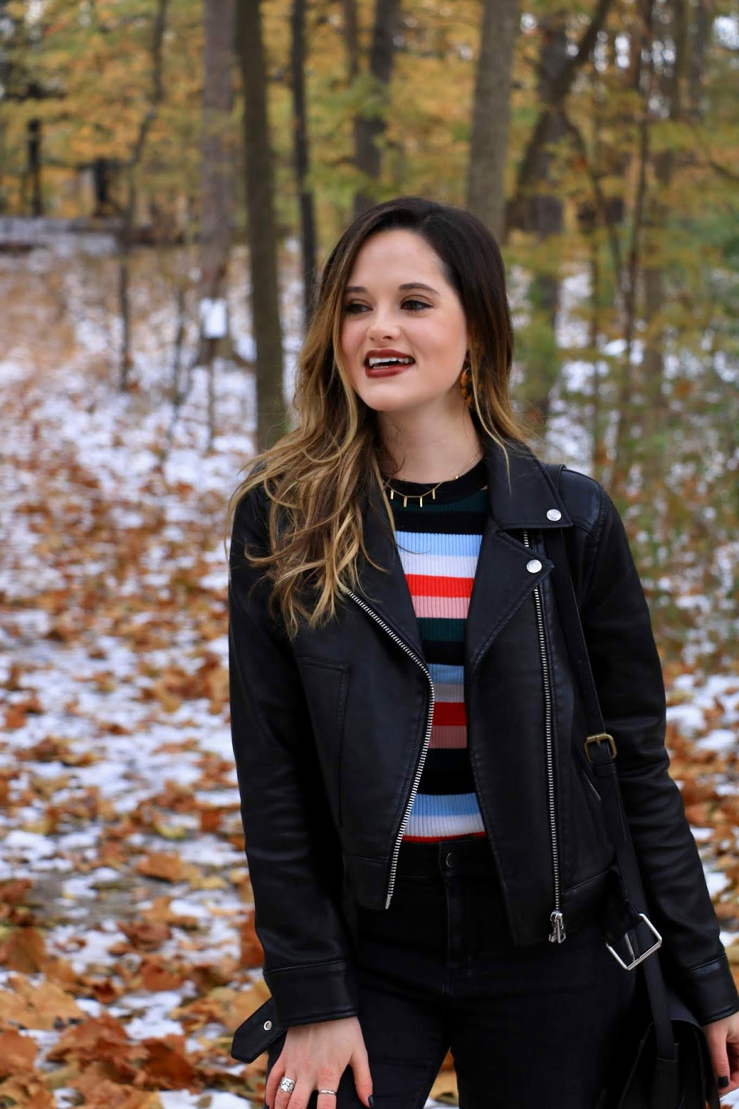 Nyc fashion blogger Kathleen Harper wearing a leather jacket from Topshop.