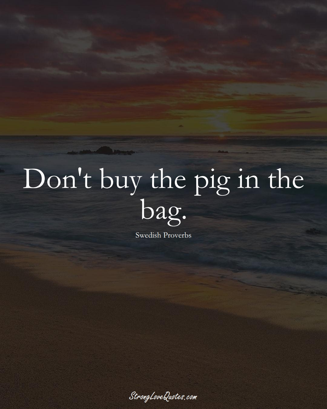 Don't buy the pig in the bag. (Swedish Sayings);  #EuropeanSayings