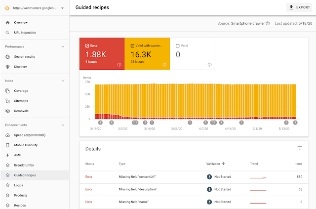 New reports for Guided Recipes on Assistant in Search Console