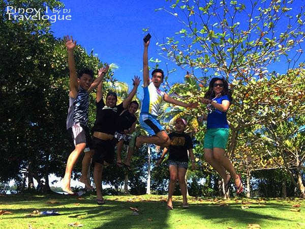 Group jump shot at Lake Danao's islet