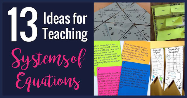 These tips, activities, and foldables will help you teach systems equations to your algebra students.  There are activities for solving by graphing, substitution, and elimination.  The activities for word problems are great!