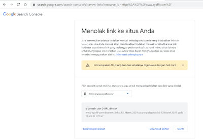 Cara Disavow Link Spam di Google Search Console