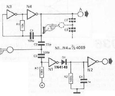 Touch Sensor Switch Using Inverters Diagram Circuit