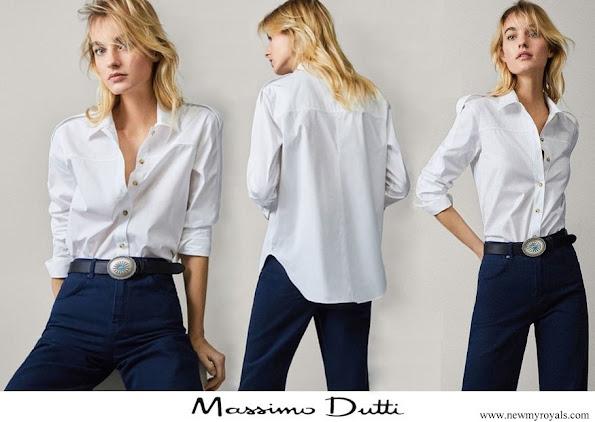 Queen Letizia wore Massimo Dutti shirt