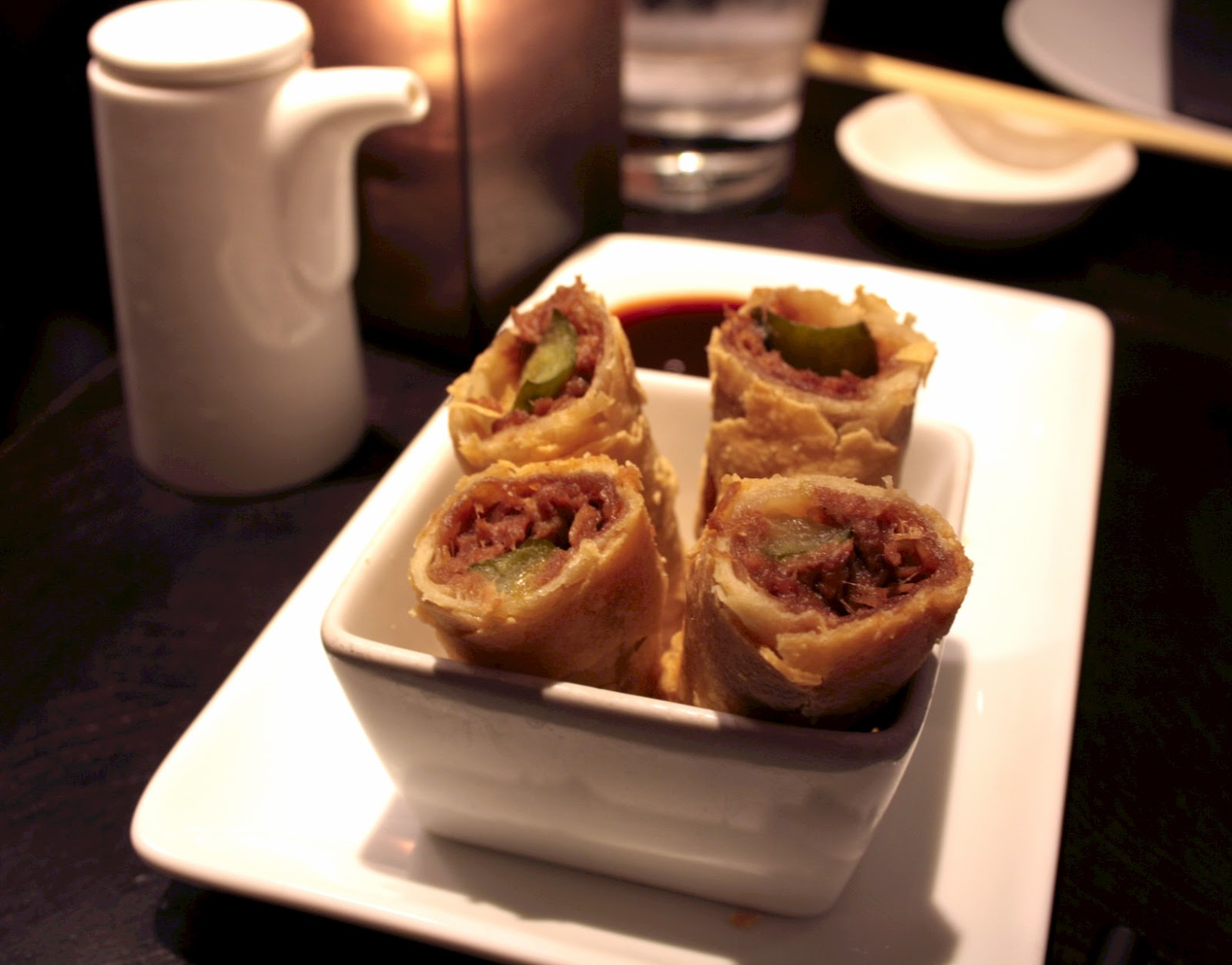 Golden crispy and flaky duck spring rolls from Ping Pong in Soho