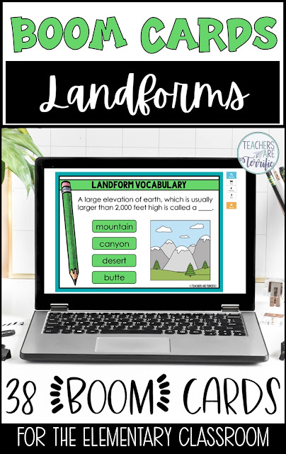Boom Cards for Landforms! Students will identify landforms based on descriptions and images. This includes 38 digital task cards!
